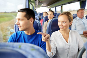 Stock Image of Couple on Bus Tour